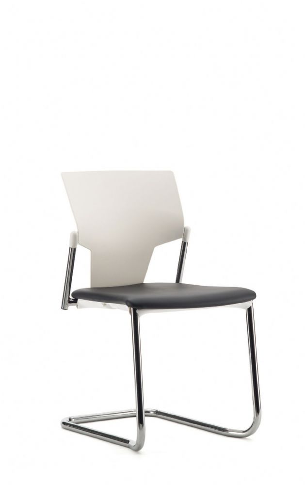 Pledge Ikon Chair With Upholstered Seat And Plastic Back With Cantilever Frame